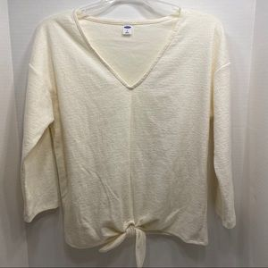 Old Navy Tops - NWT Ivory Long Sleeve Tied Knot Decor Shirt Top
